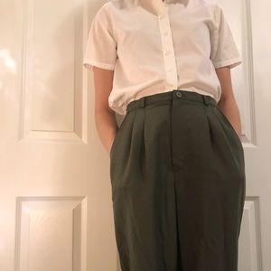 Army green loose fit slacks